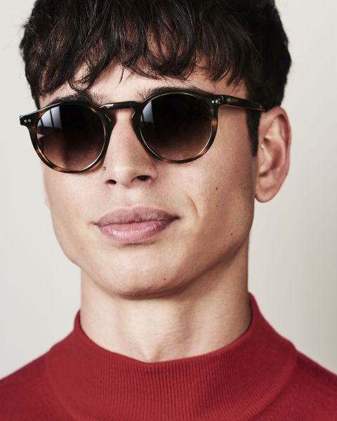 Benjamin round acetate glasses in Tiger Wood by Ace & Tate