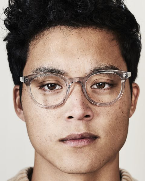 Hugo round acetate glasses in Smoke by Ace & Tate