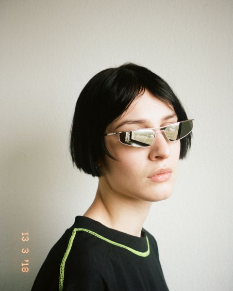 CMMN Neo rectangulaires métal glasses in Silver Mirror by Ace & Tate