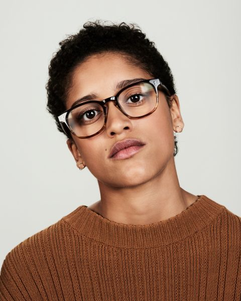 Alfred square acetate glasses in Chocolate Havana Fade by Ace & Tate