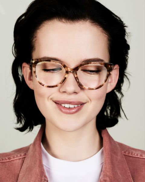 Phoebe Small round acetate glasses in Gold Dust by Ace & Tate
