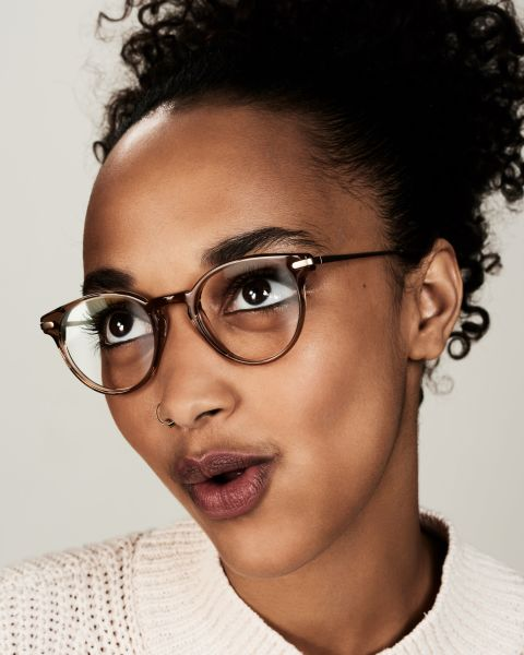 Pierce Metal Temple ronde combinaison glasses in Golden Brown by Ace & Tate