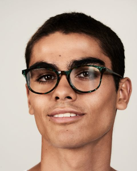 Ryan round acetate glasses in Peacock by Ace & Tate