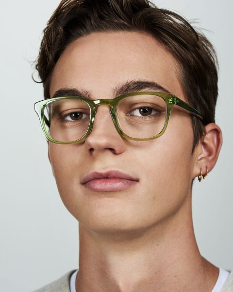 Axl vierkant acetaat glasses in Pine by Ace & Tate