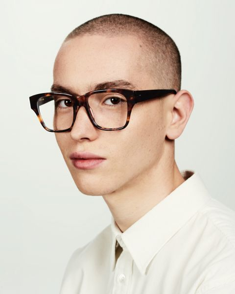 Matt square acetate glasses in Rosewood by Ace & Tate
