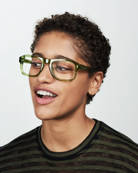 Russel rectangle acetate glasses in Pine by Ace & Tate