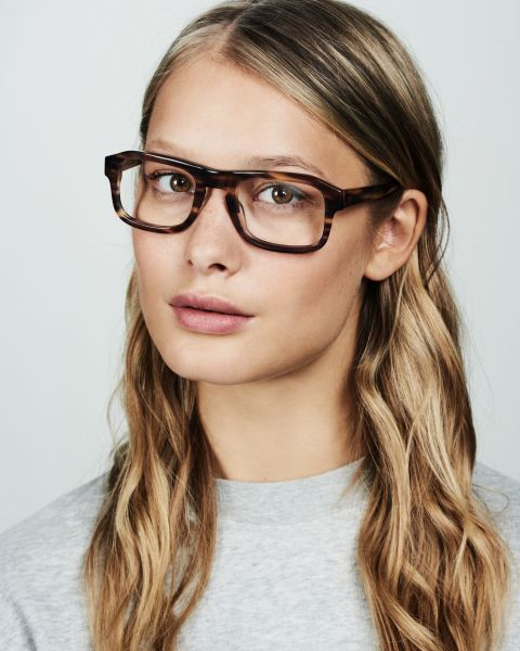 Russel rectangle acetate glasses in Taupe Tortoise by Ace & Tate