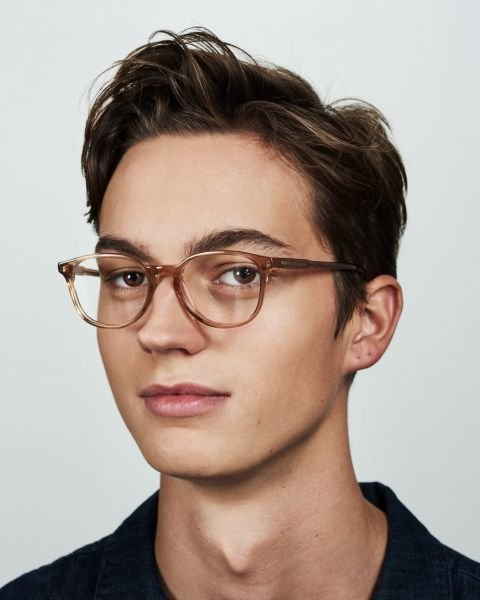 Ryan rond acetaat glasses in Golden Brown by Ace & Tate