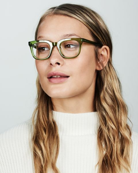 Teller Small rectangle acetate glasses in Pine by Ace & Tate