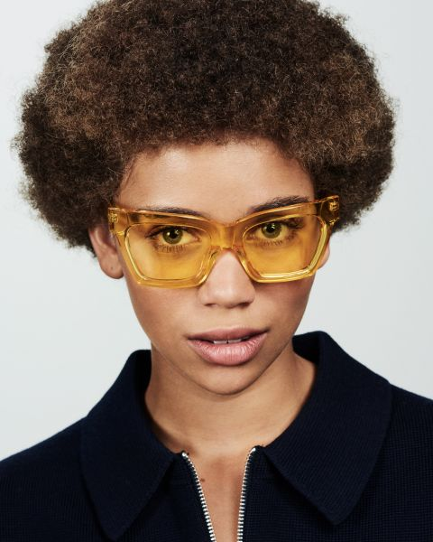 Grace rechthoekig acetaat glasses in Marigold by Ace & Tate