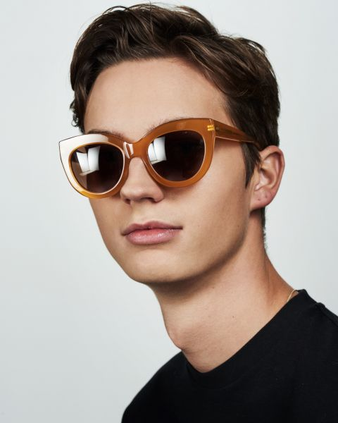 Vic round acetate glasses in Caramel by Ace & Tate