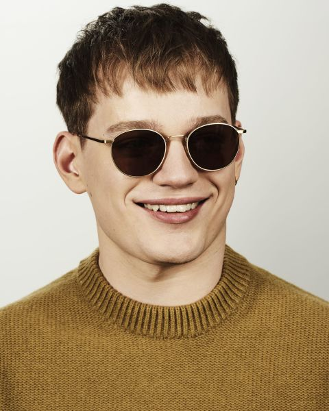 Neil Large ronde métal glasses in Satin Gold by Ace & Tate