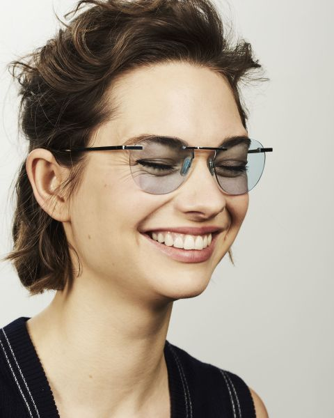 Vince Titanium ronde titane glasses in Sky by Ace & Tate