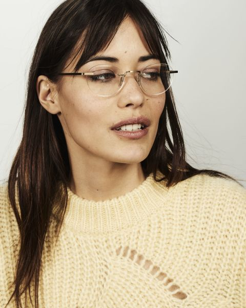 Elliot Titanium oval titanium glasses in Satin Gold by Ace & Tate