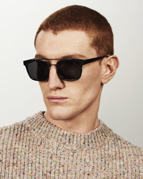 Conor square bio_acetate,combi glasses in Bio Black by Ace & Tate