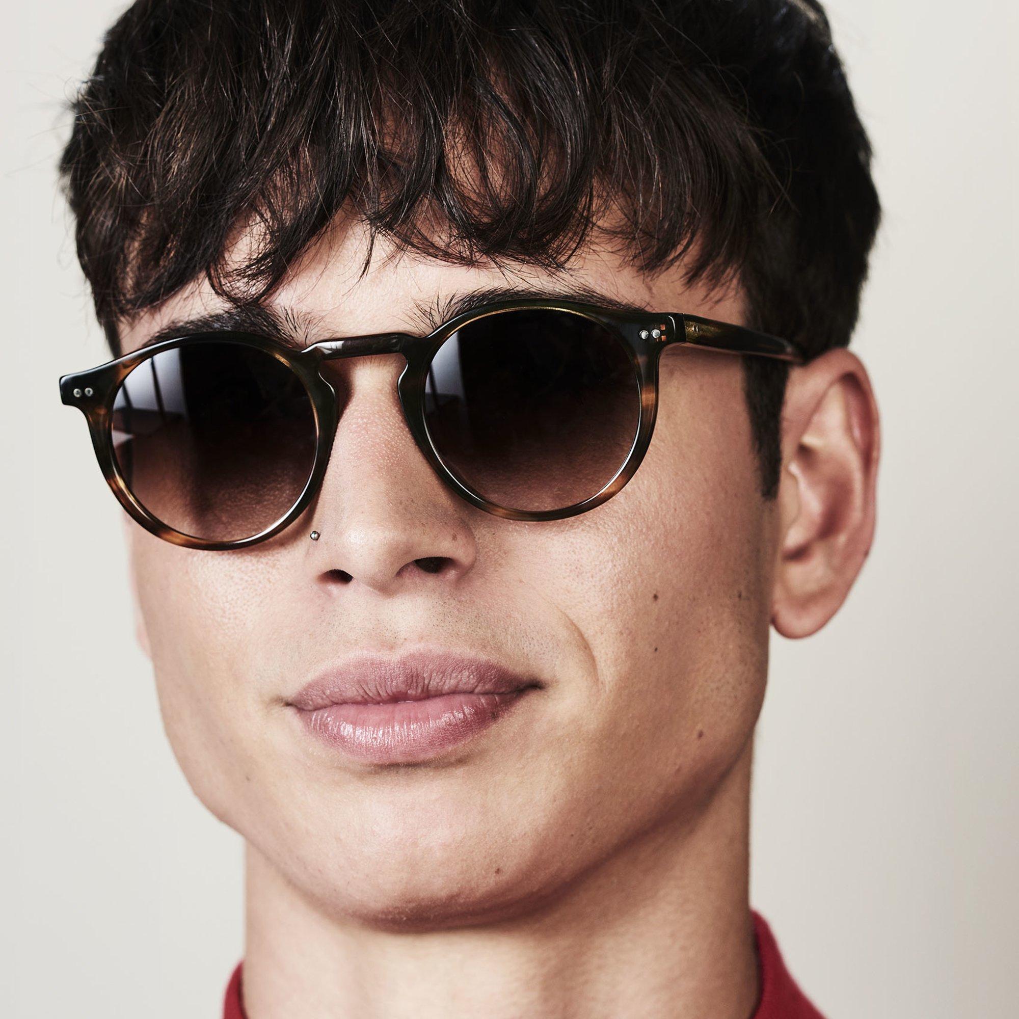 Ace & Tate Sunglasses | round acetate in Brown, Orange