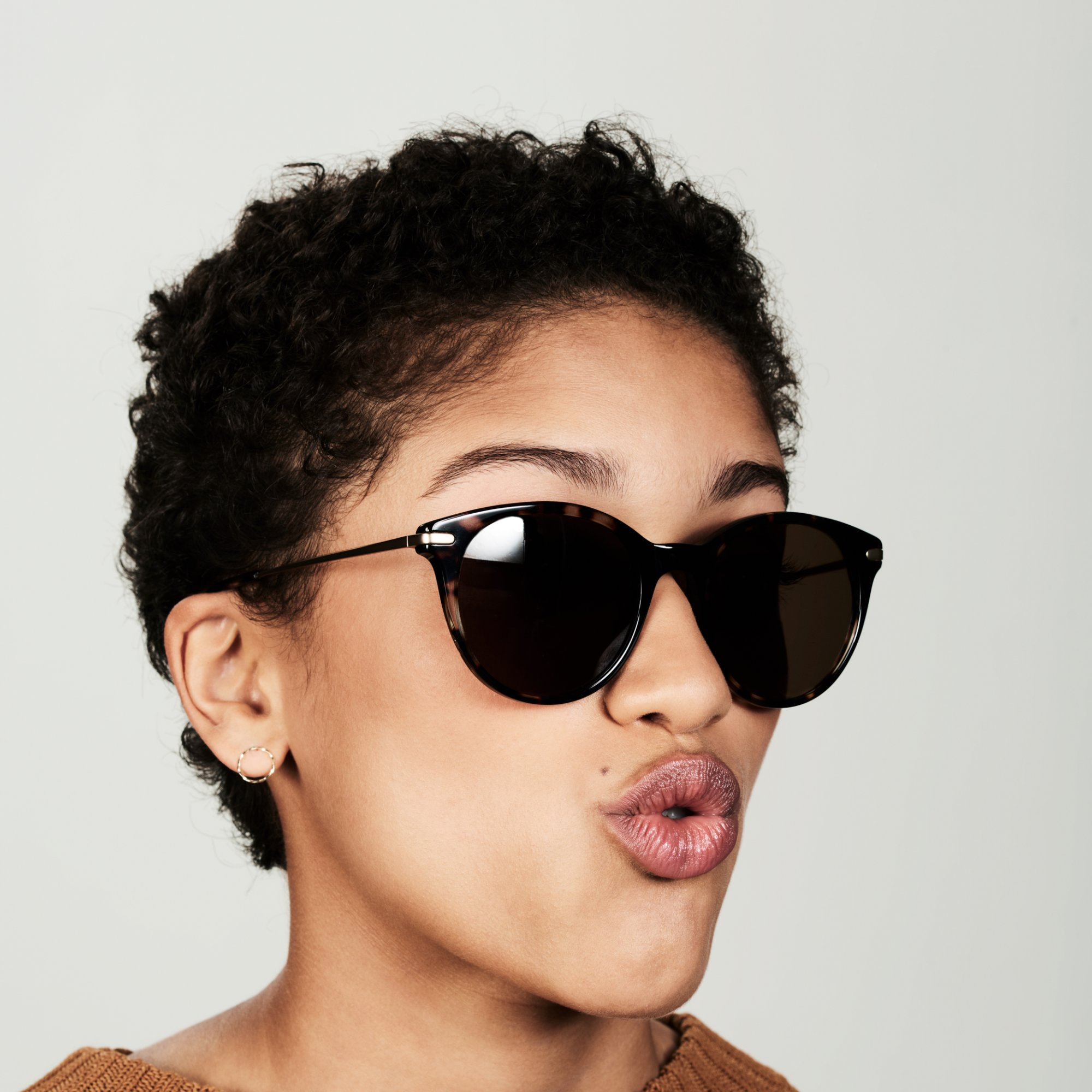 Ace & Tate Sunglasses | round combi in Brown