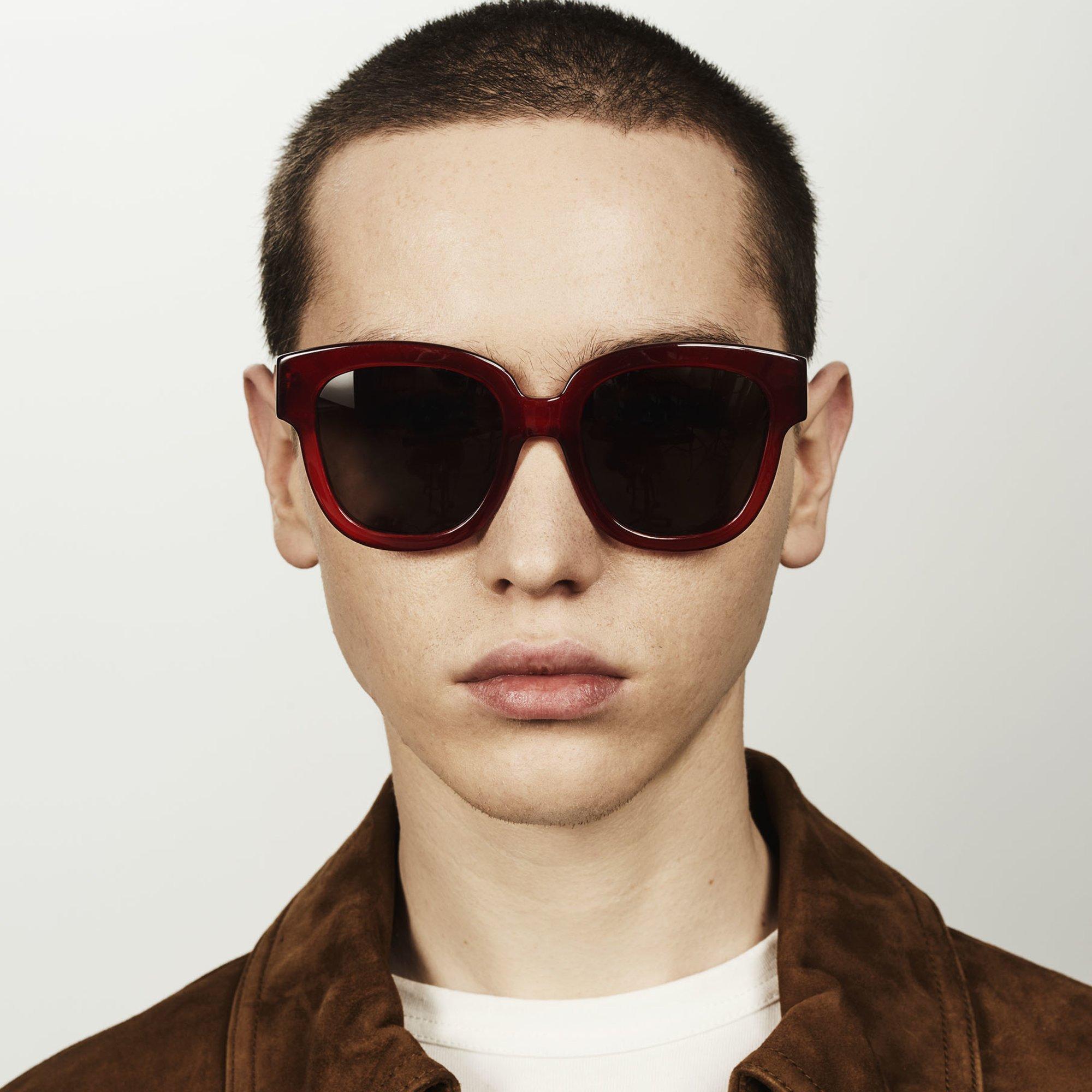 Ace & Tate Sunglasses | square acetate in Red