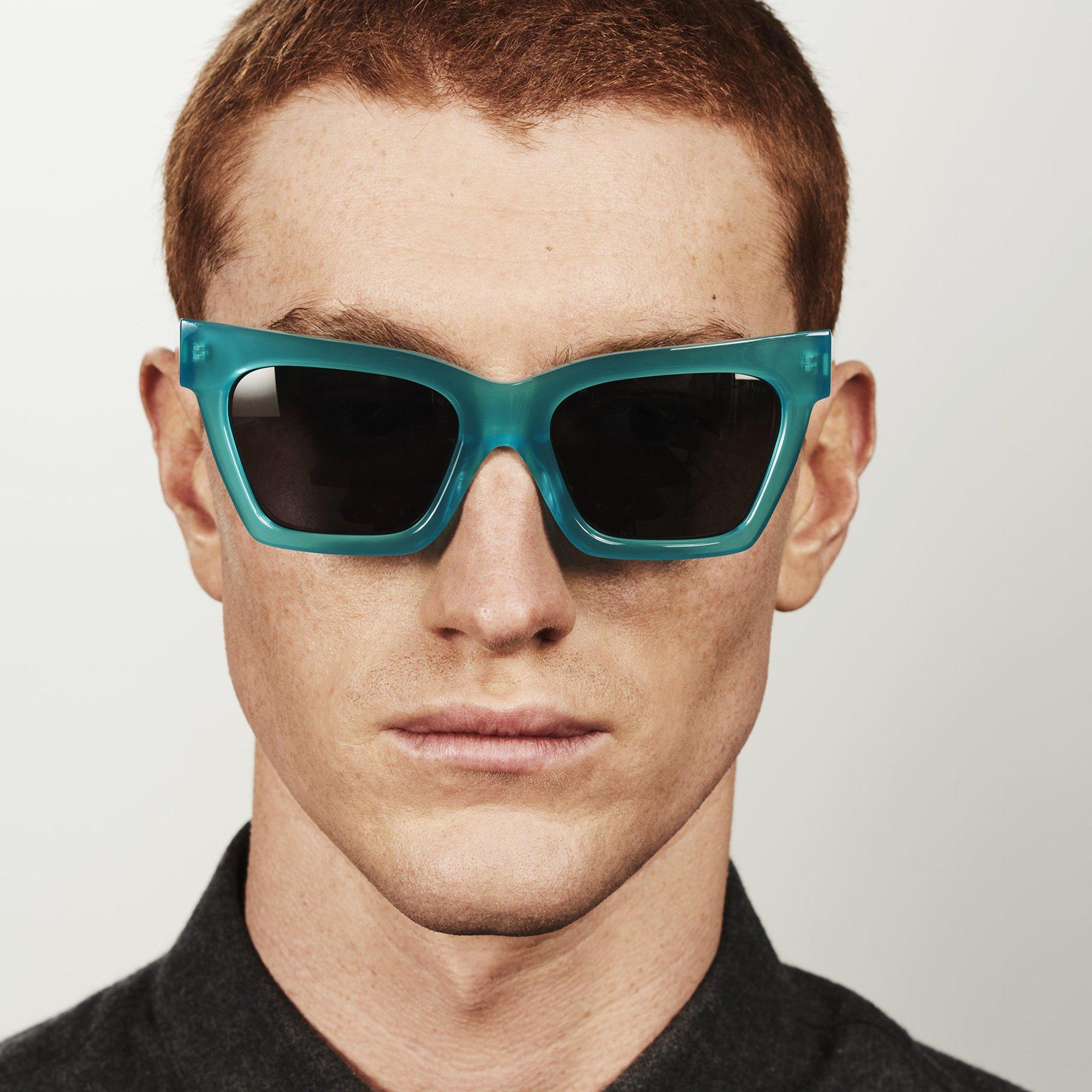 Ace & Tate Sunglasses | rectangle acetate in Blue, Green