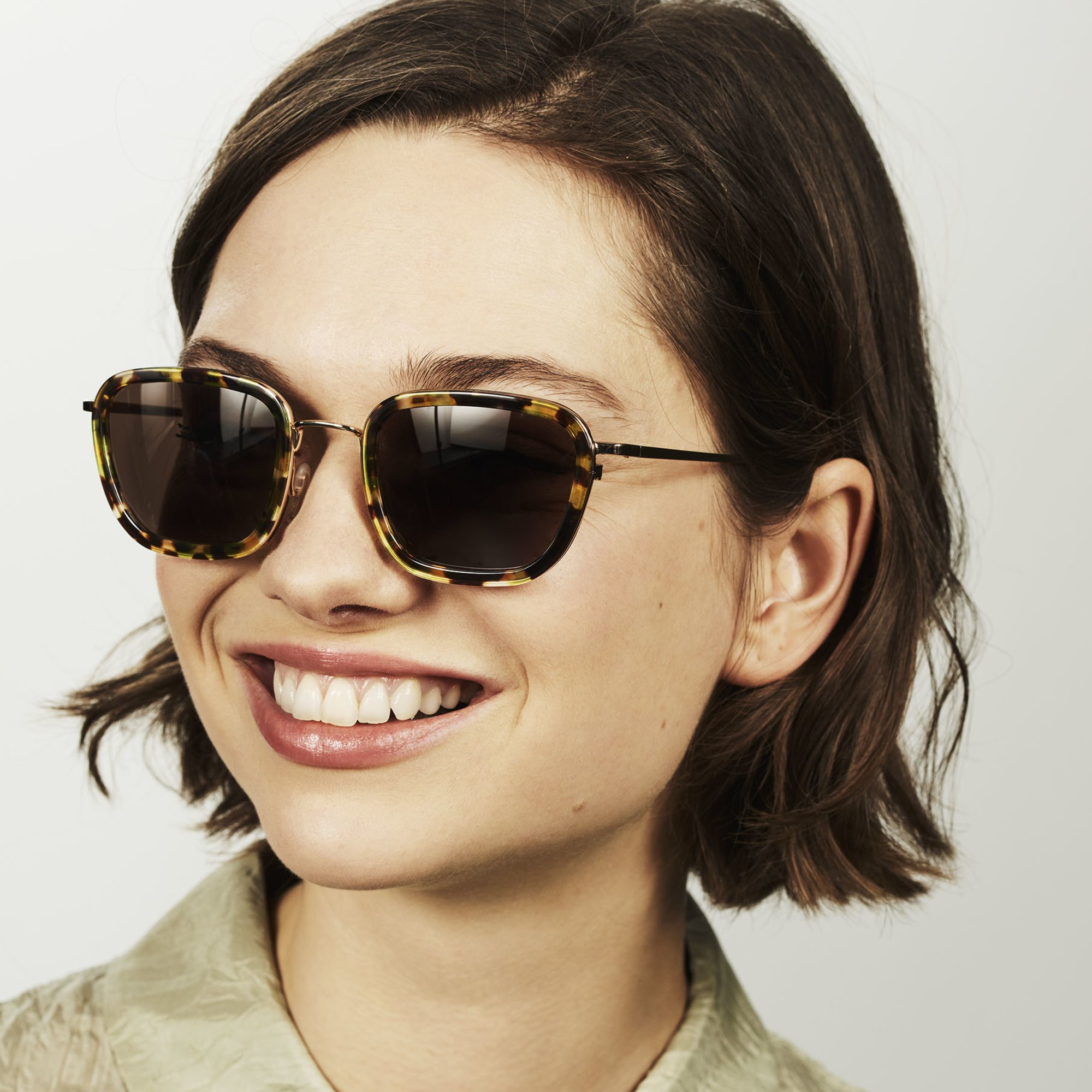 Ace & Tate Sunglasses | square combi in Brown, Green, Yellow