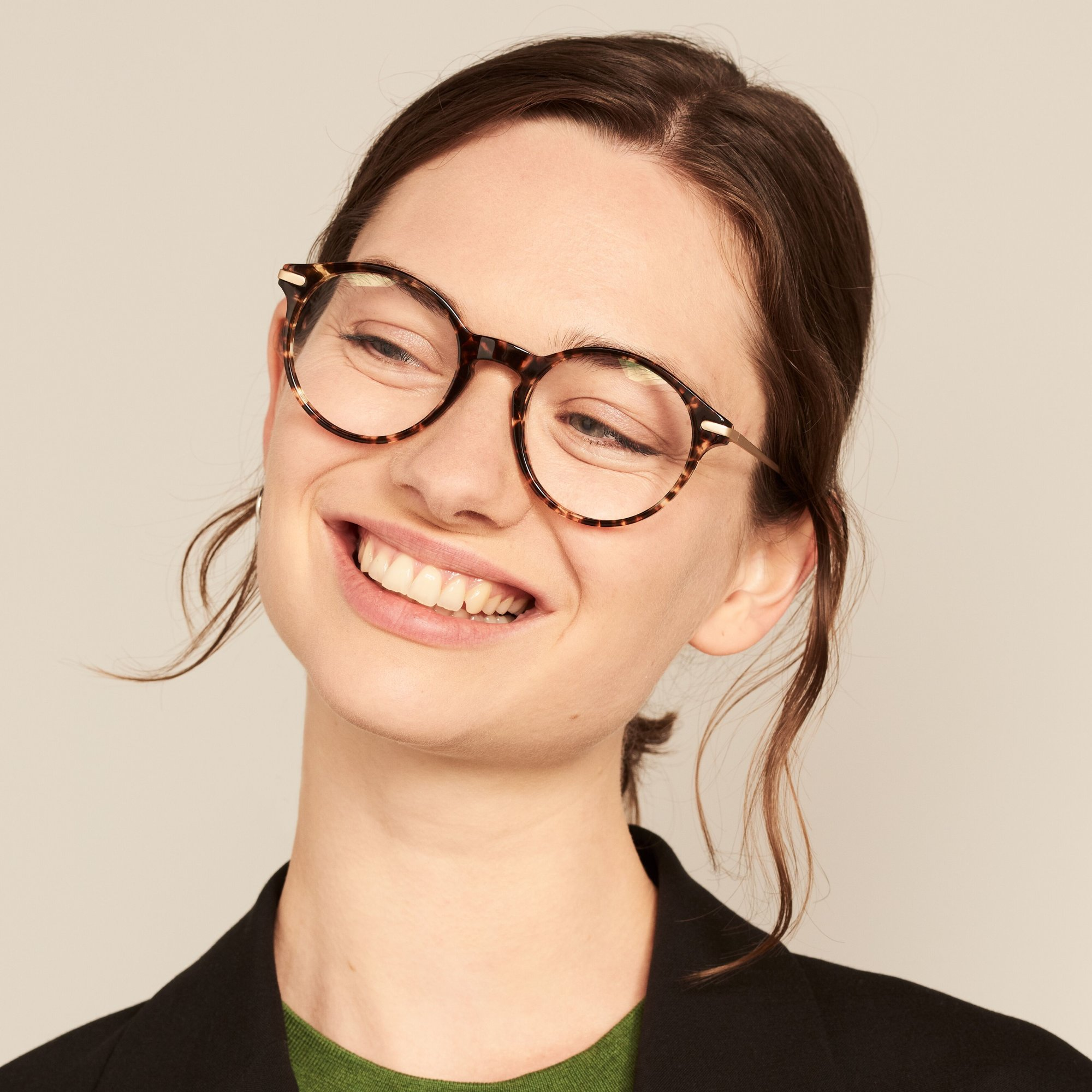 Ace & Tate Glasses | redonda acetato in Marrón