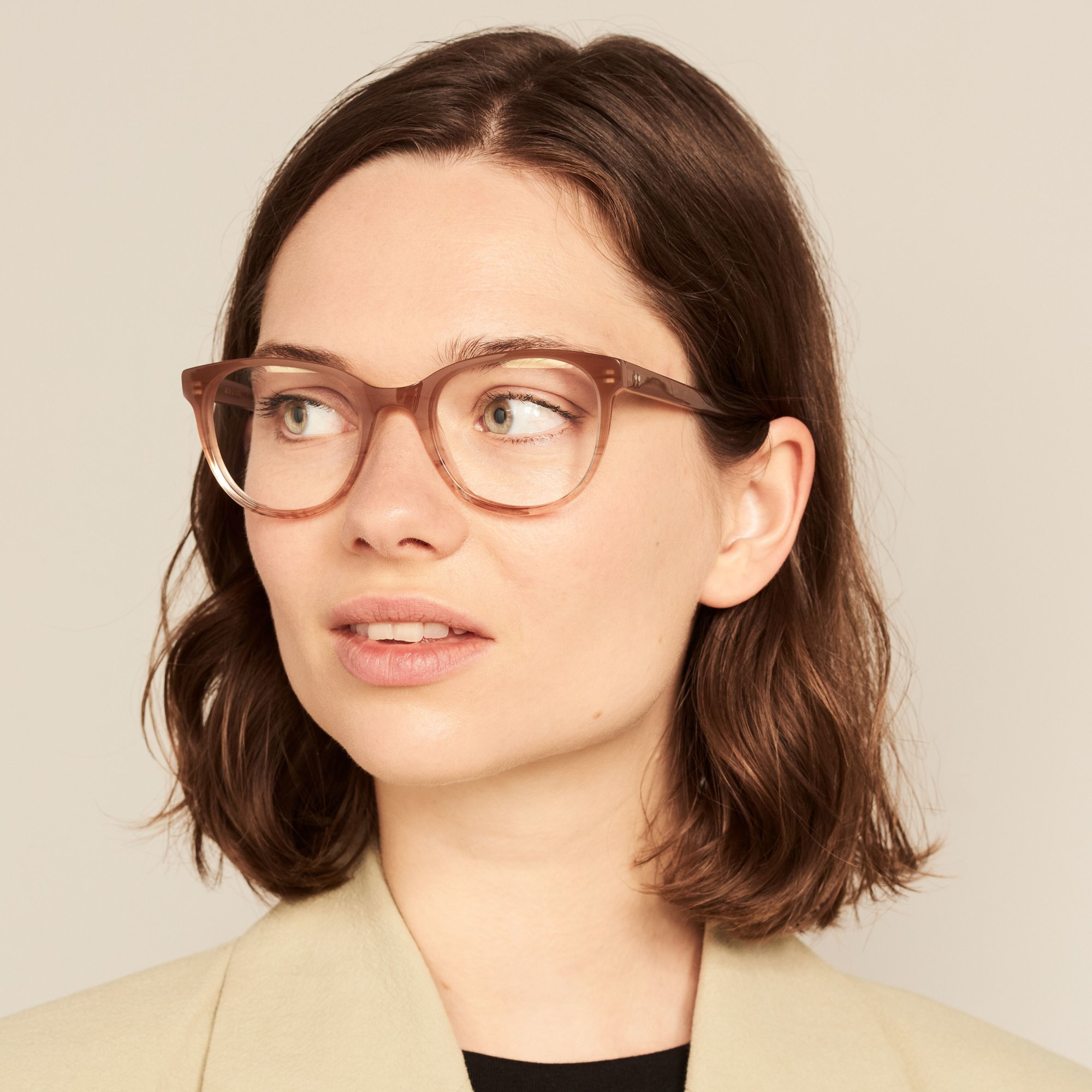 Ace & Tate Glasses   round acetate in Beige, Pink