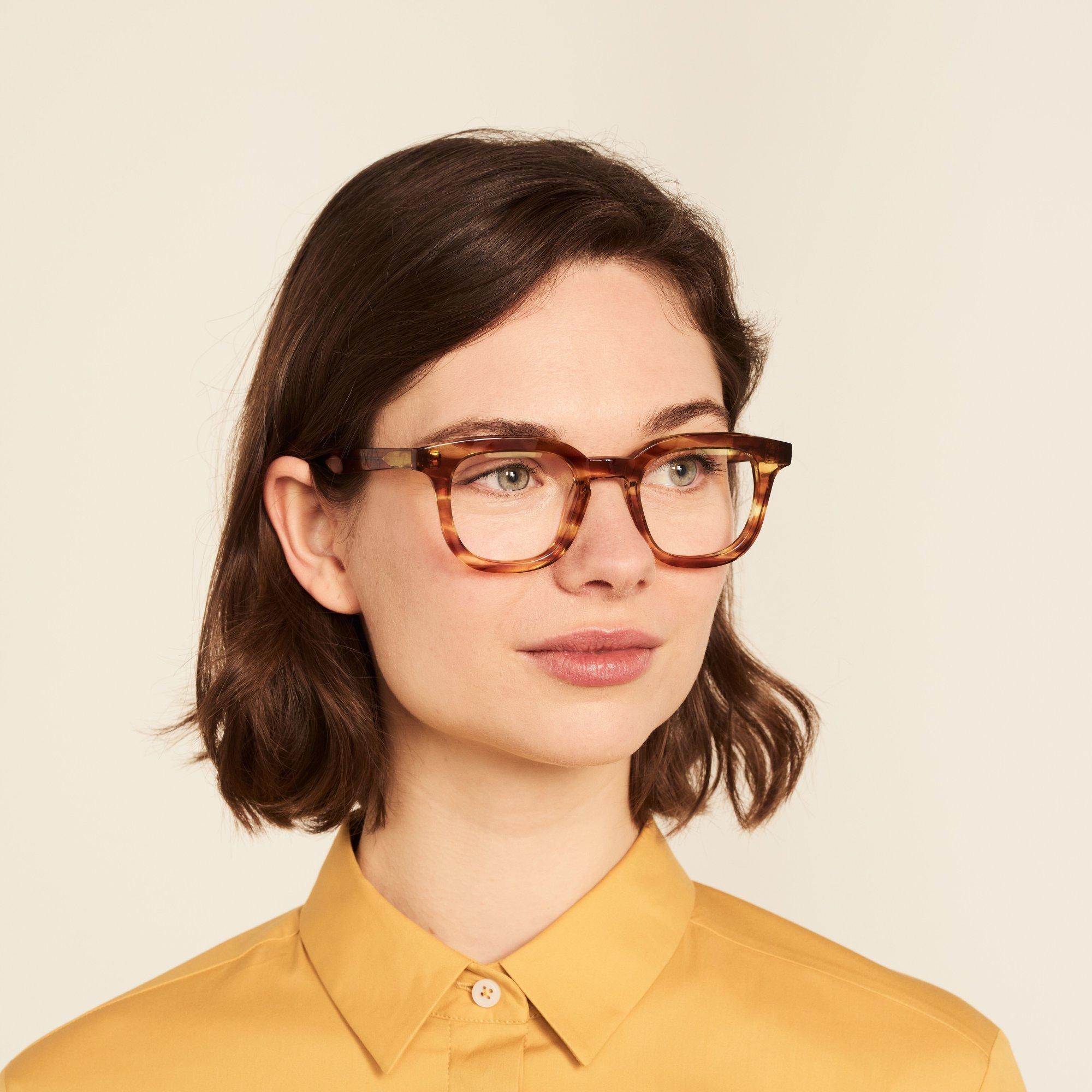 Ace & Tate Glasses | square acetate in Brown, Orange