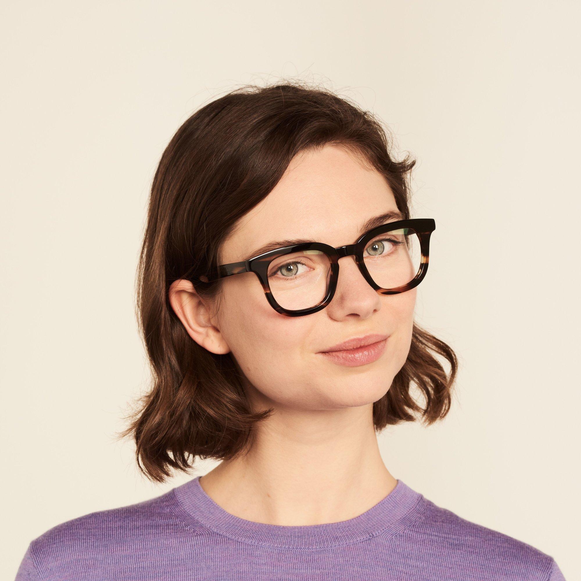 Ace & Tate Glasses | quadratisch Acetat in Braun, Orange