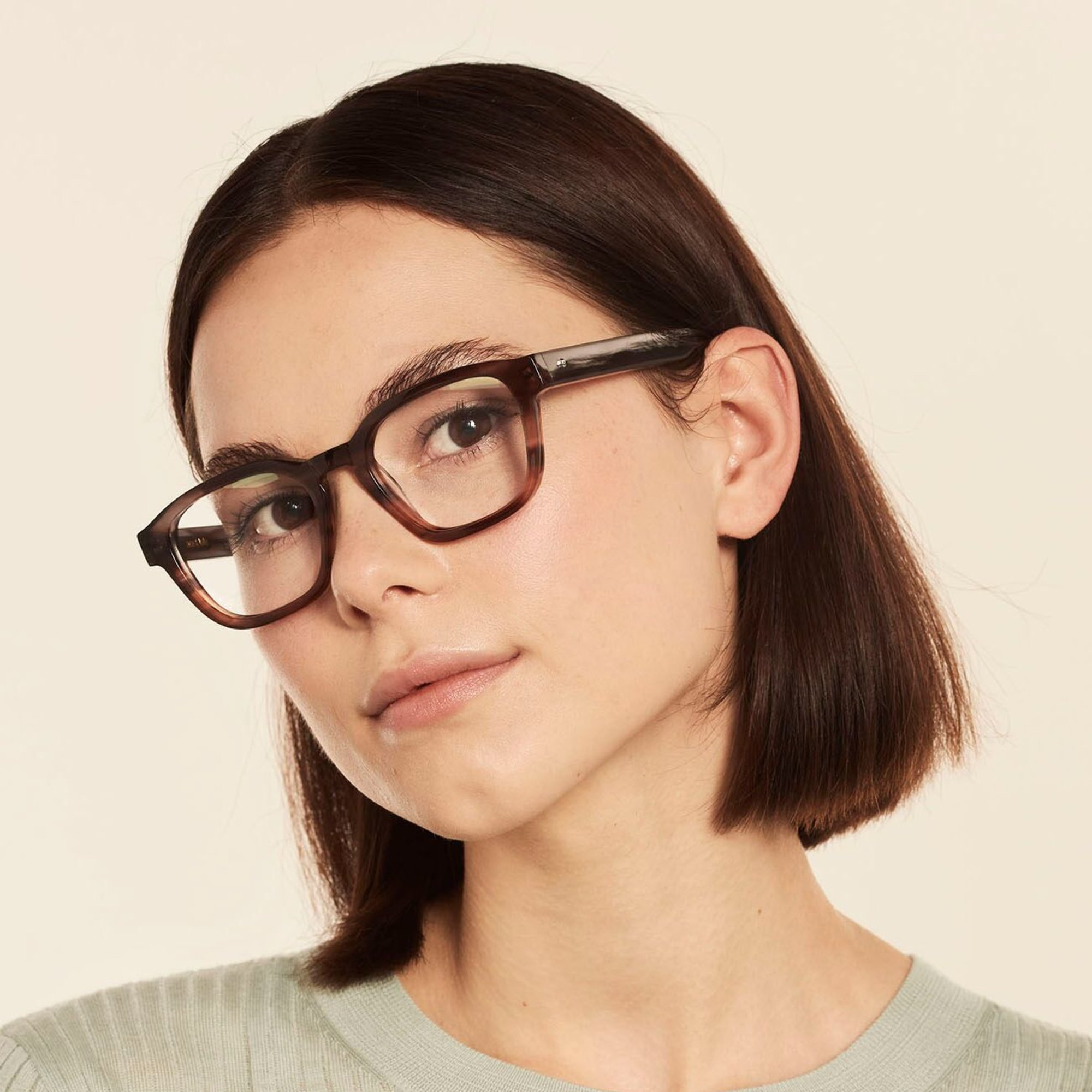Ace & Tate Glasses | rectangle acetate in Brown, Grey, Orange