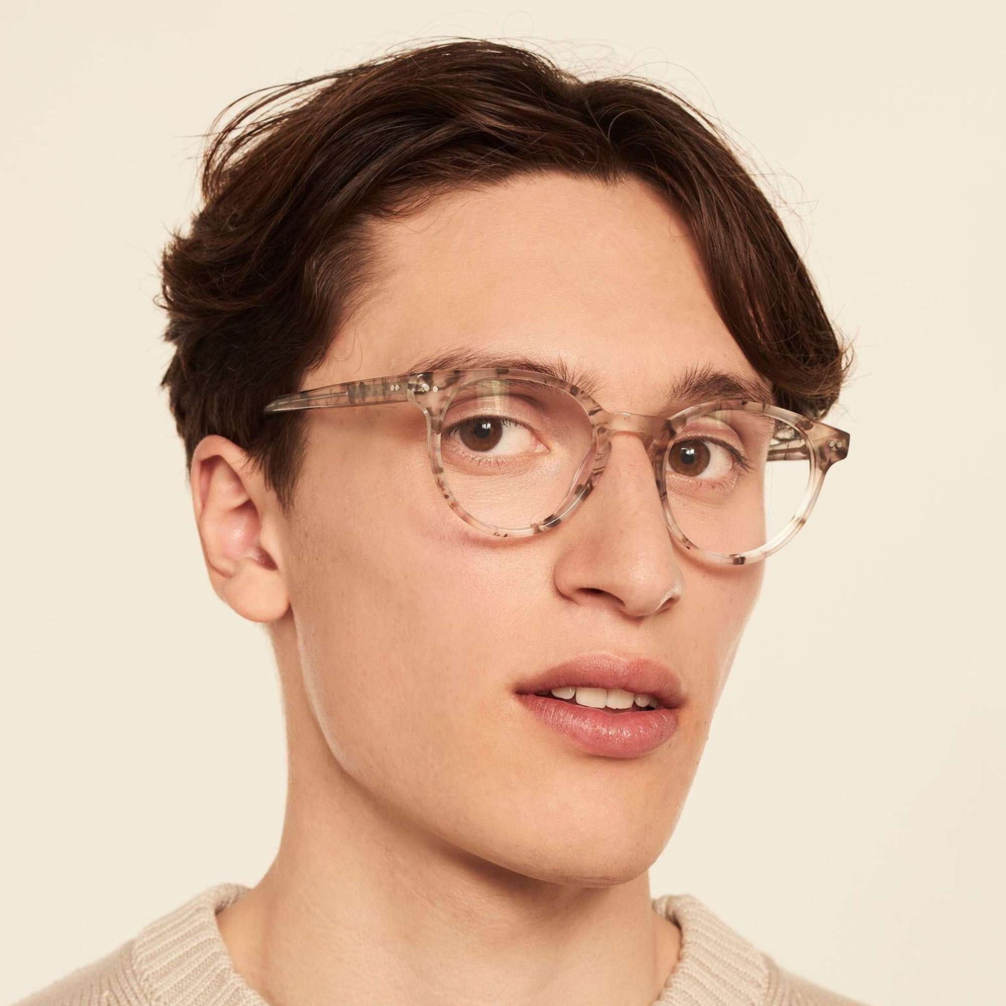Ace & Tate Glasses | round acetate in Brown, Grey, White