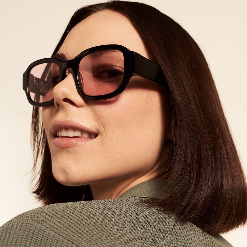Ace & Tate Sunglasses | rechteckig Acetat in Schwarz, Pink