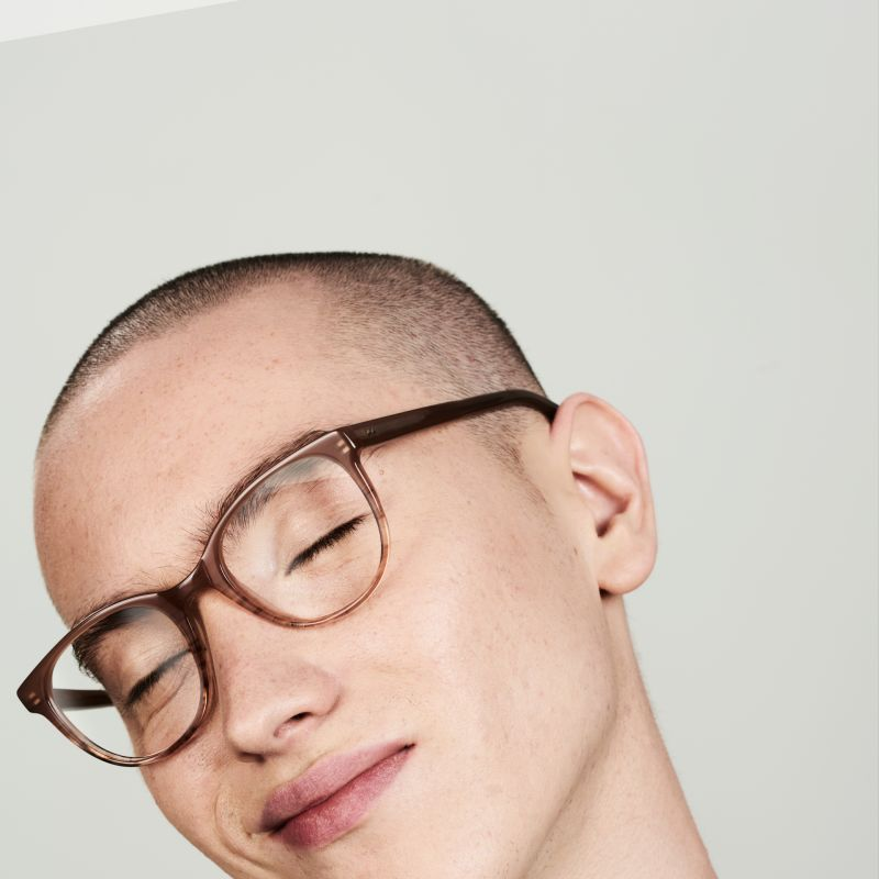 Ace & Tate Glasses | round acetate in Beige, Pink