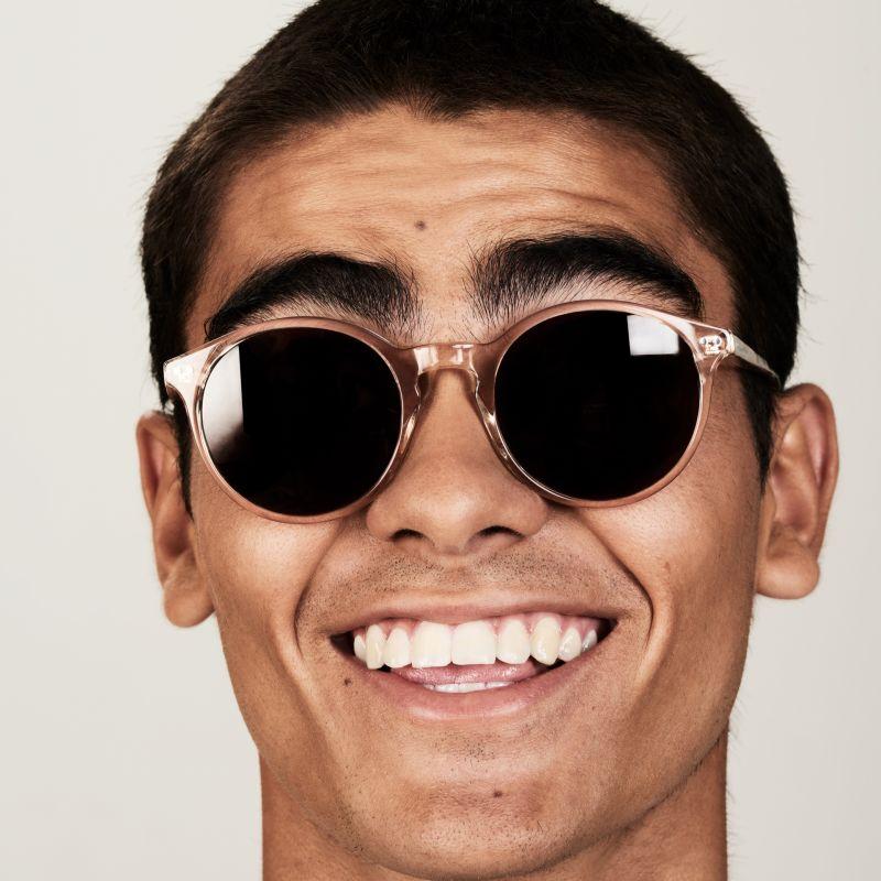 Ace & Tate Sunglasses | round acetate in Clear