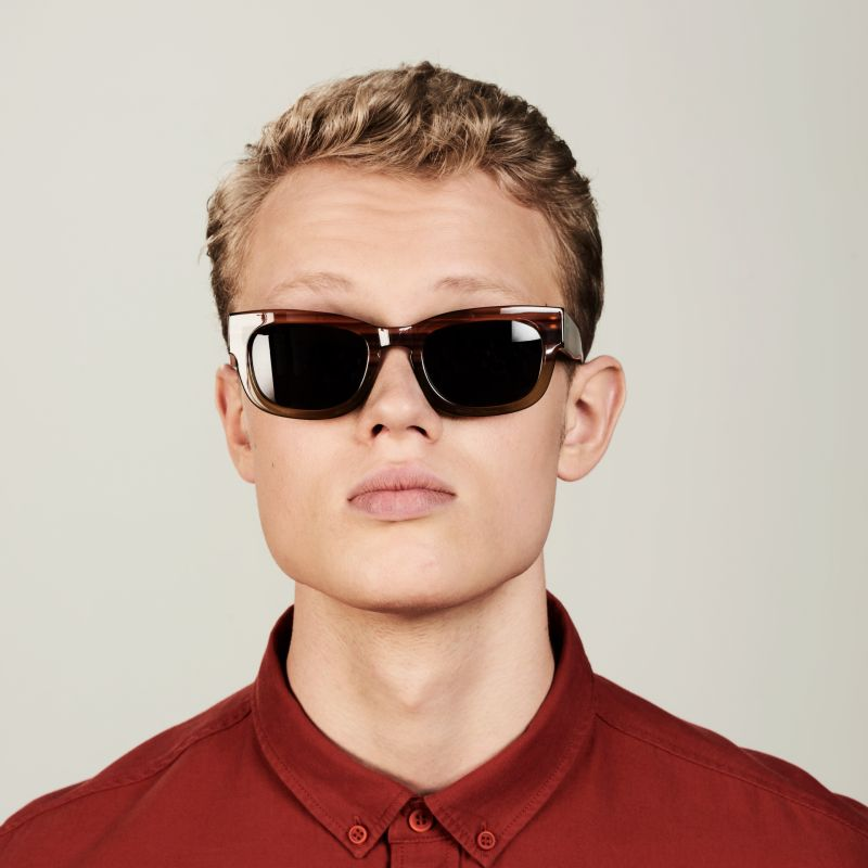 Ace & Tate Sunglasses | rectangle acetate in Brown, Green