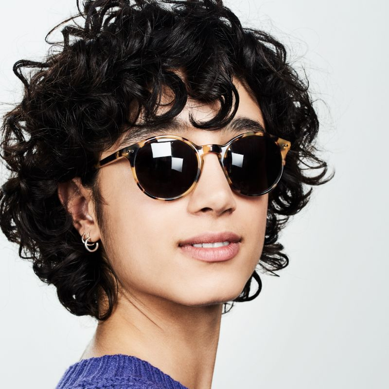 Ace & Tate Sunglasses | round acetate in Brown, Yellow