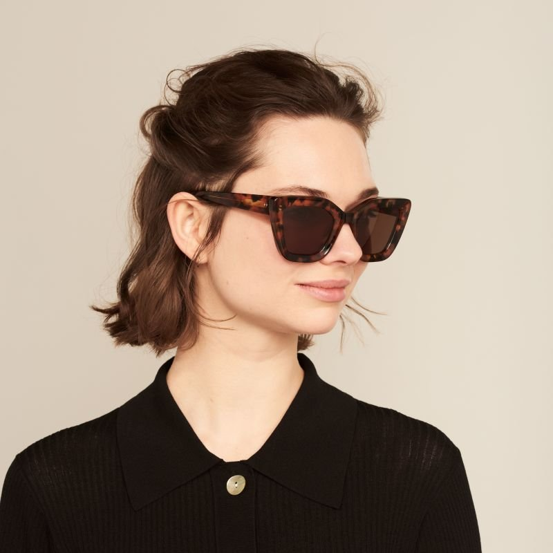 Ace & Tate Sunglasses | rectangle acetate in Black, Brown, Orange, Red
