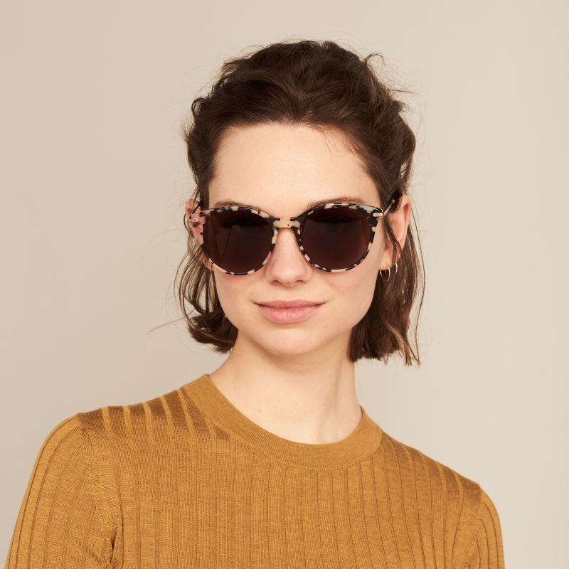 Ace & Tate Sunglasses | round acetate in Blue, Brown, Pink