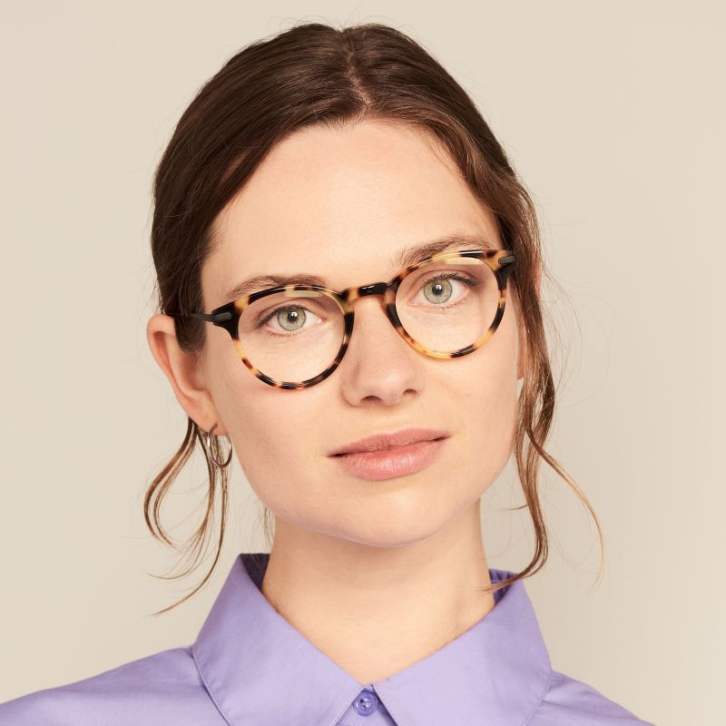 Ace & Tate Glasses | round acetate in Brown, Yellow