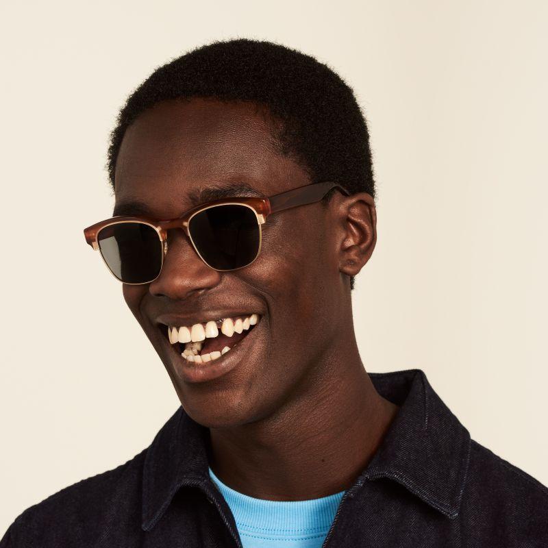 Ace & Tate Sunglasses | square metal in Brown, Gold, Orange