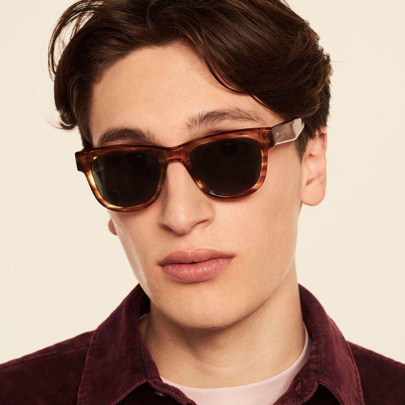Ace & Tate Sunglasses | rectangle acetate in Brown, Orange