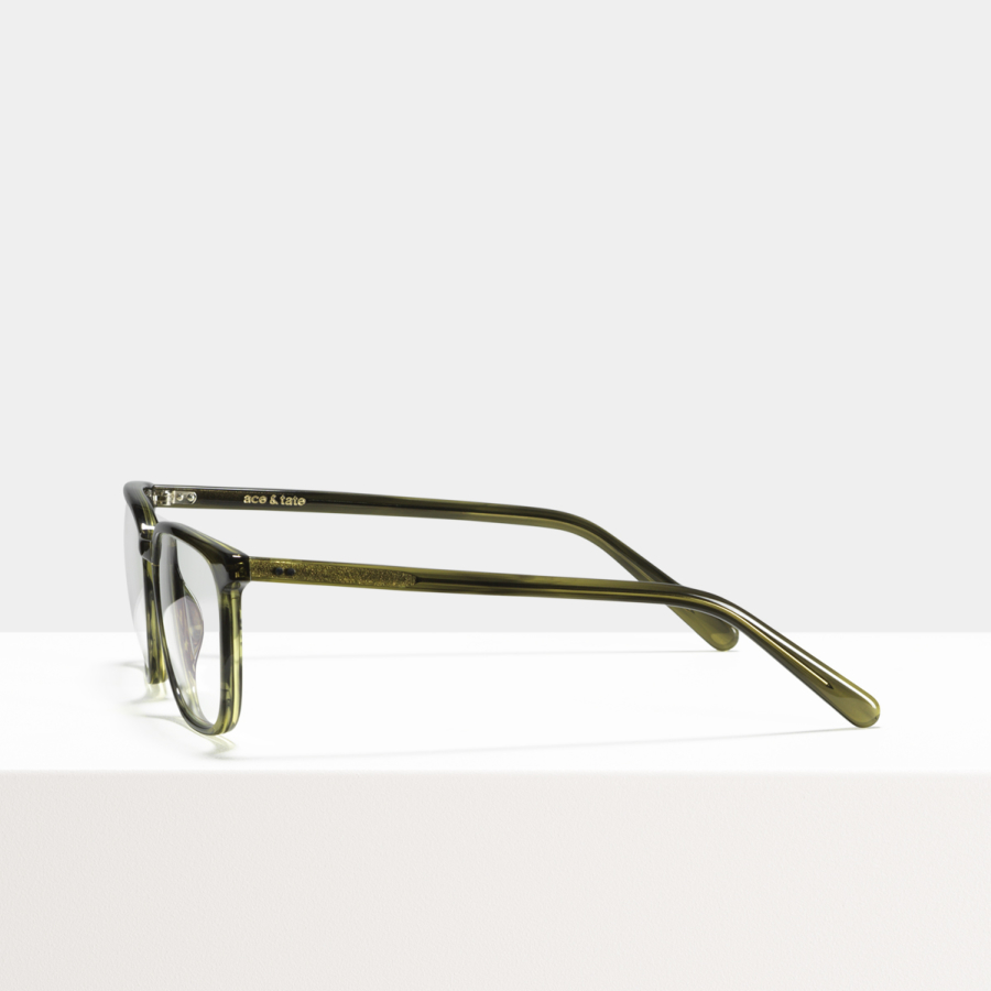 Ace & Tate Glasses | rectangle acetate in Green