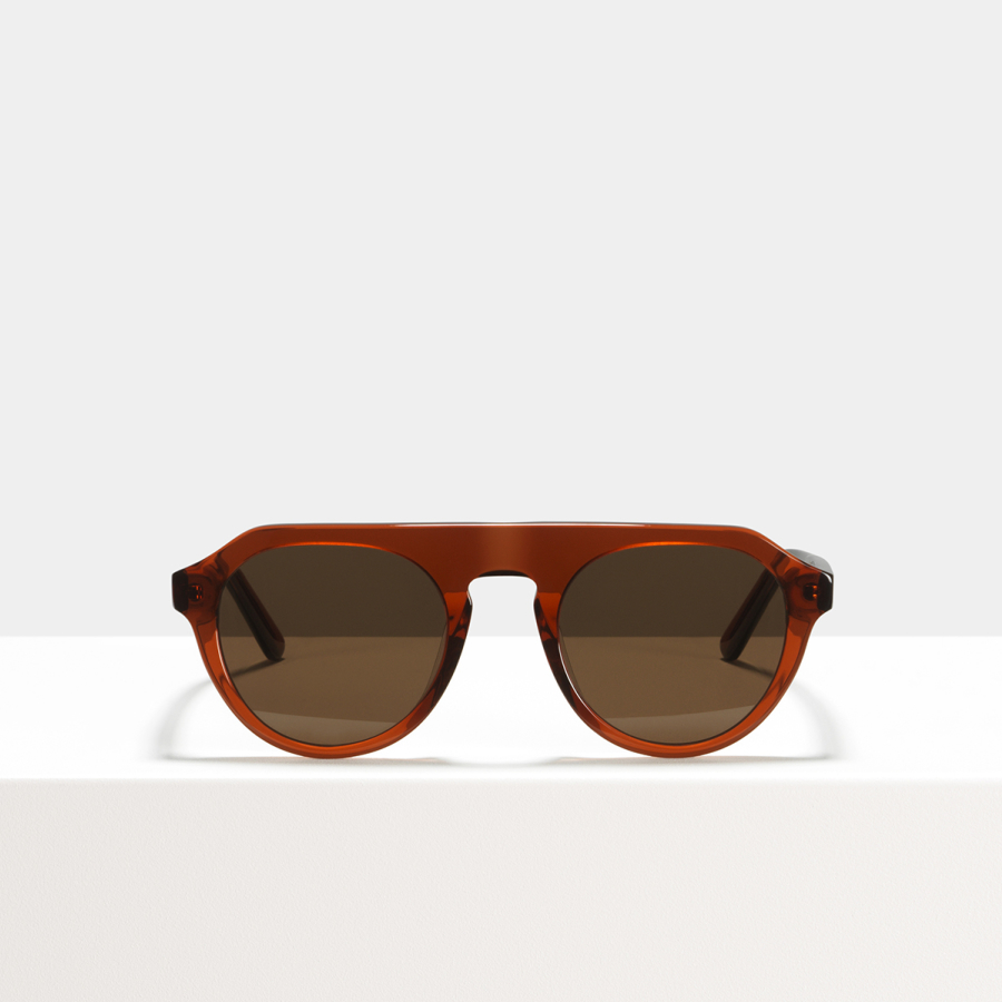 Ace & Tate Sunglasses | round acetate in Brown, Red