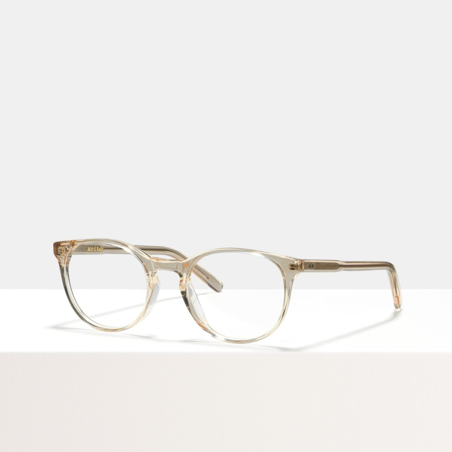 Ace & Tate Glasses | round acetate in Clear, Pink