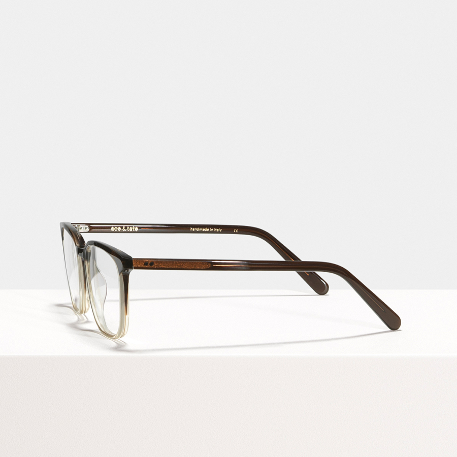 Ace & Tate Glasses | rectangle acetate in Brown, Clear