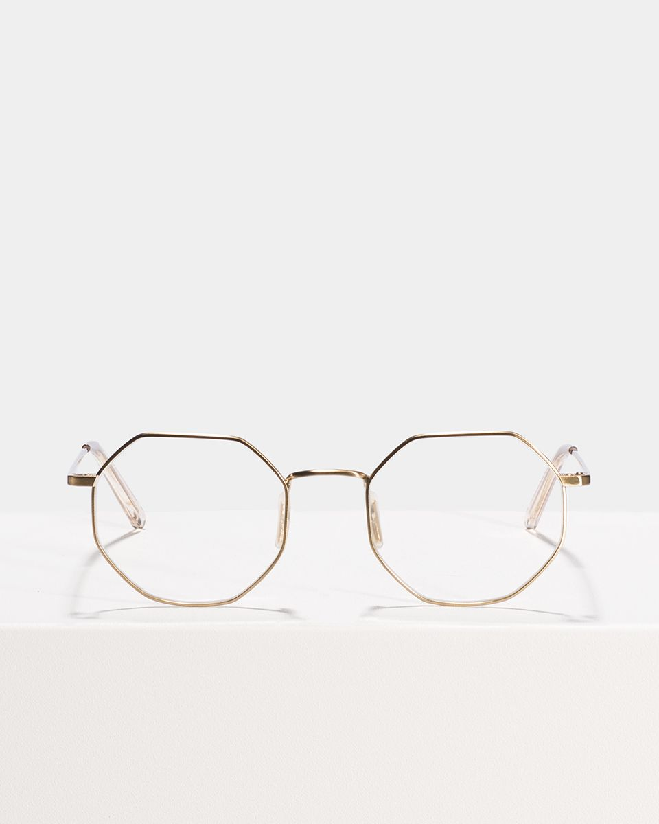Elton vierkant metaal glasses in Satin Gold by Ace & Tate