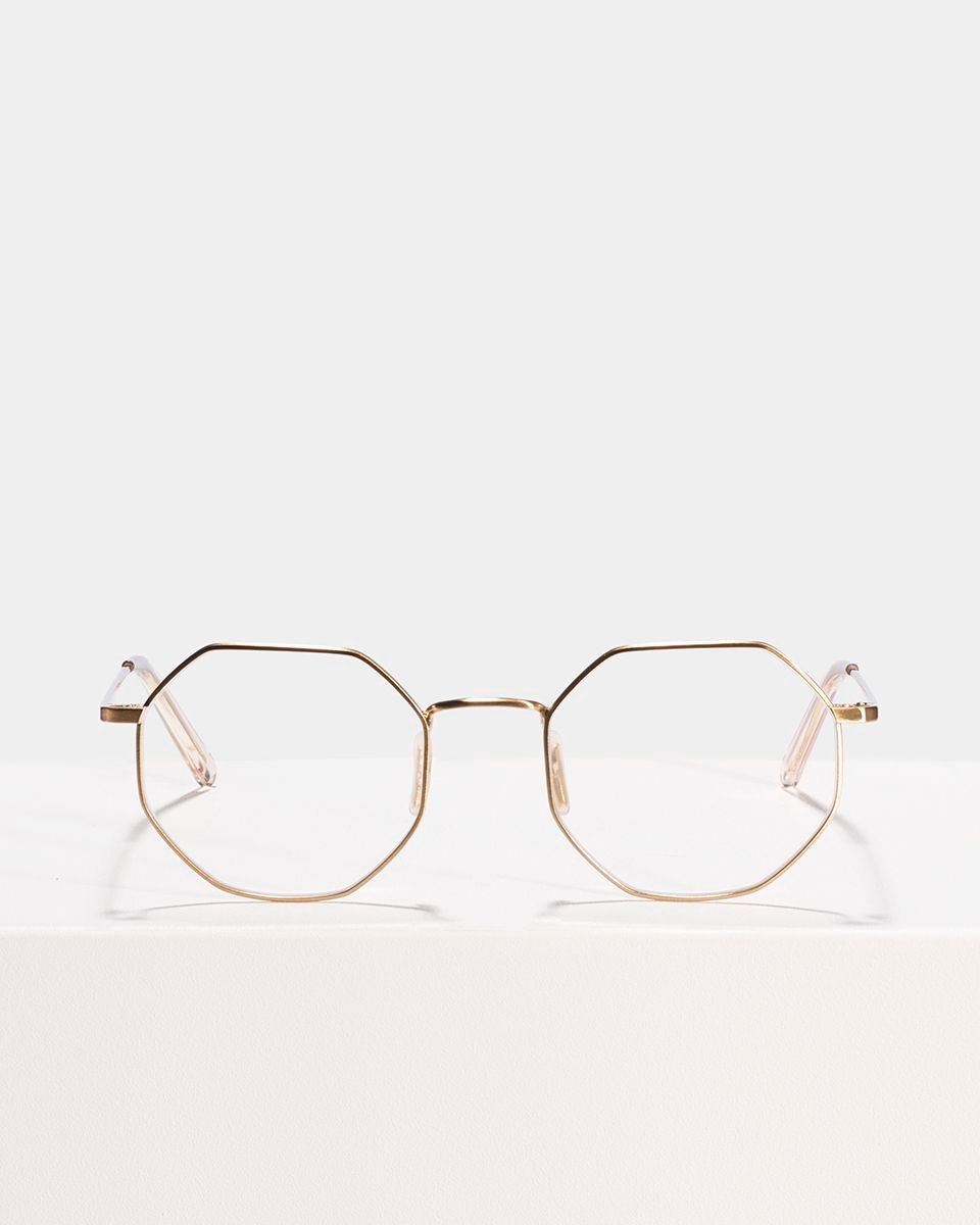 Elton square metal glasses in Satin Gold by Ace & Tate