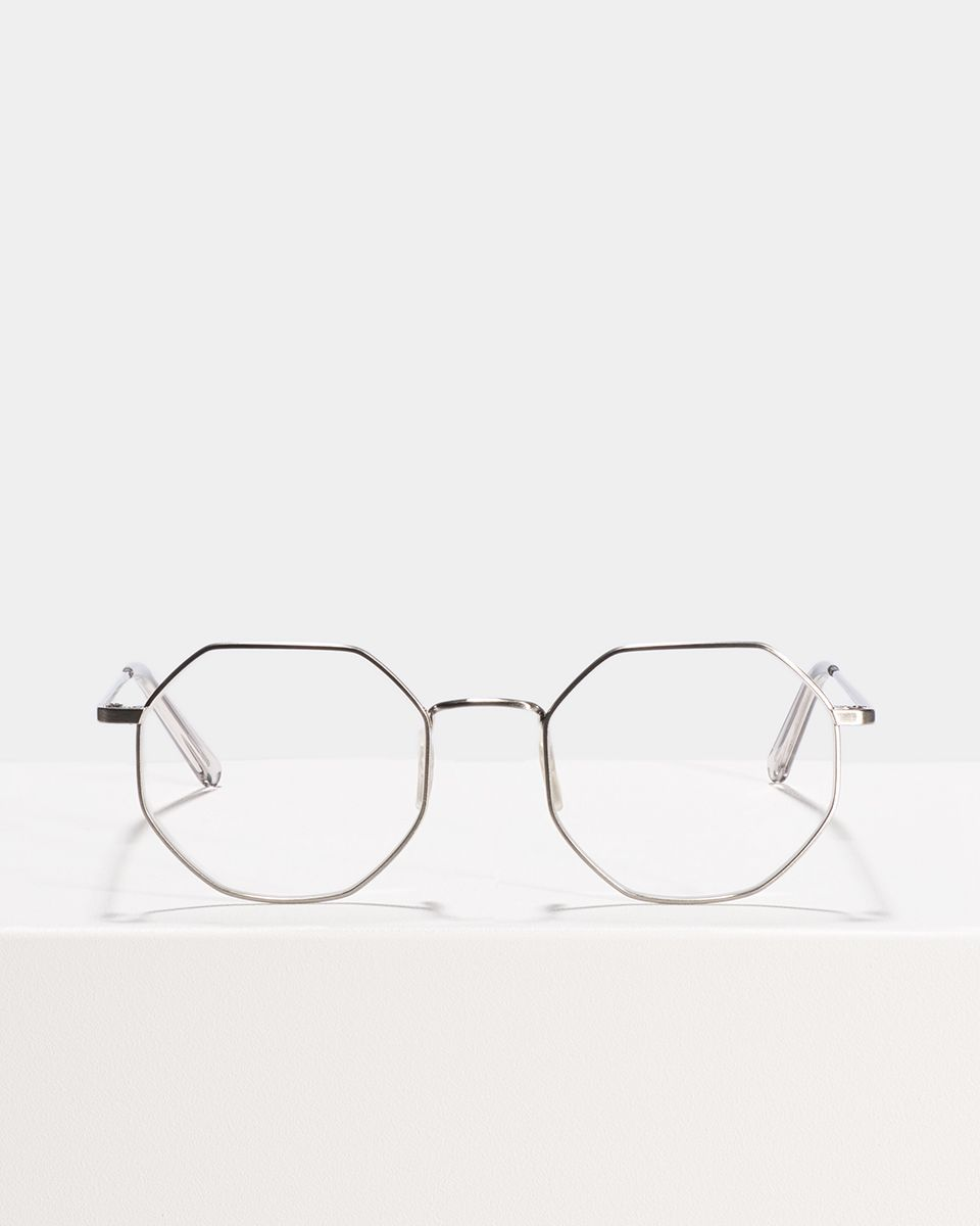 Elton quadratisch Metall glasses in Satin Silver by Ace & Tate