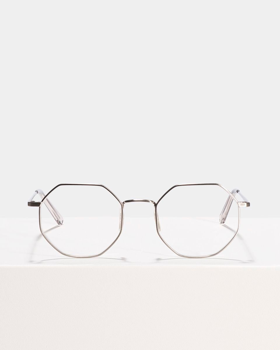 Elton vierkant metaal glasses in Satin Silver by Ace & Tate