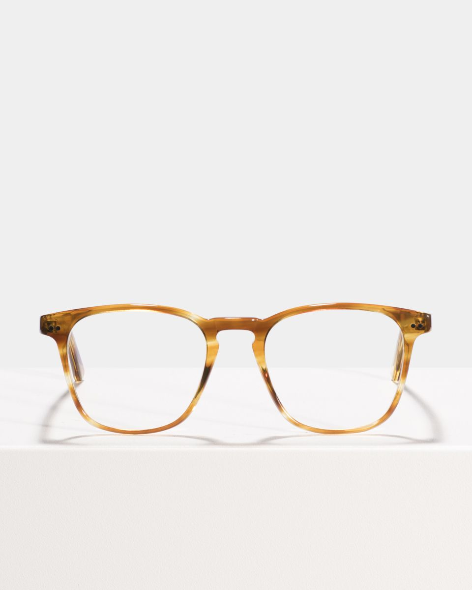 Hudson quadratisch Acetat glasses in Caramel Havana by Ace & Tate
