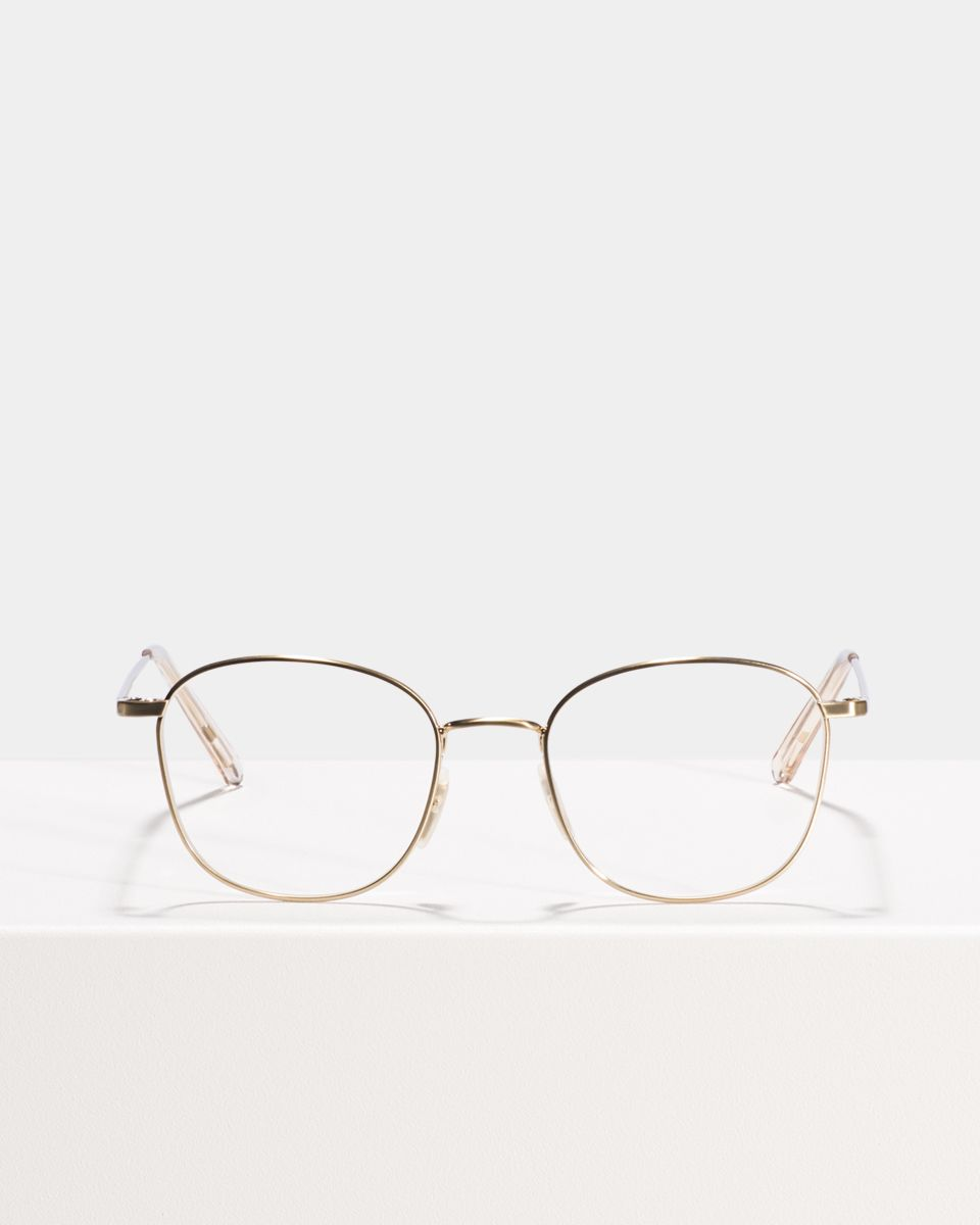 Jay square metal glasses in Satin Gold by Ace & Tate